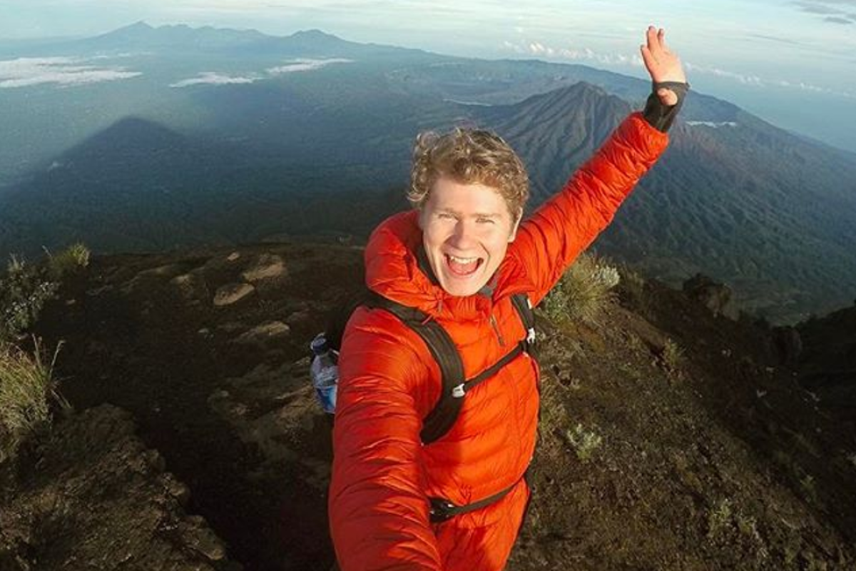 Harry Tabor atop a mountain in Indonesia. He has always been an avid hiker but hopes to take trail running more seriously now he is in Hong Kong. Photo: Handout