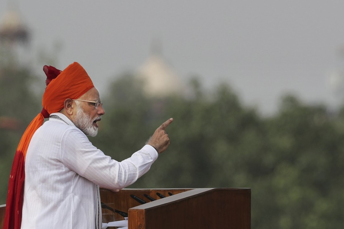 Indian Prime Minister Narendra Modi addresses the nation on the country's Independence Day from the ramparts of the historical Red Fort in New Delhi, India. Photo: AP