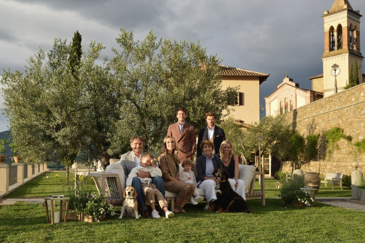 Brunello Cucinelli and his family in Solomeo. Cucinelli has such close ties with this small town that he has decided to develop and restore it.