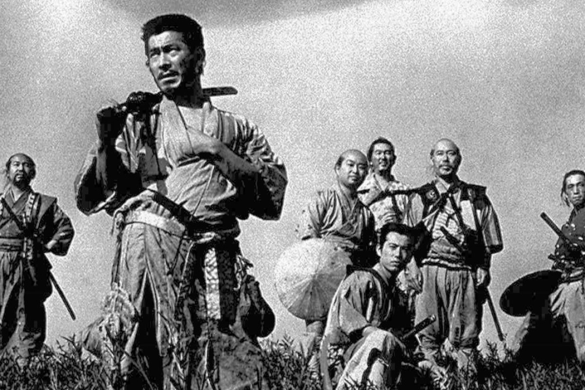 Toshiro Mifune (foreground) in a scene from Seven Samurai. Photo: AP/Kyodo News
