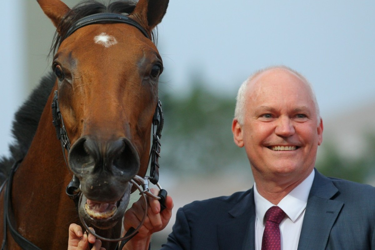 Trainer David Hall with Little Giant. Photos: Kenneth Chan