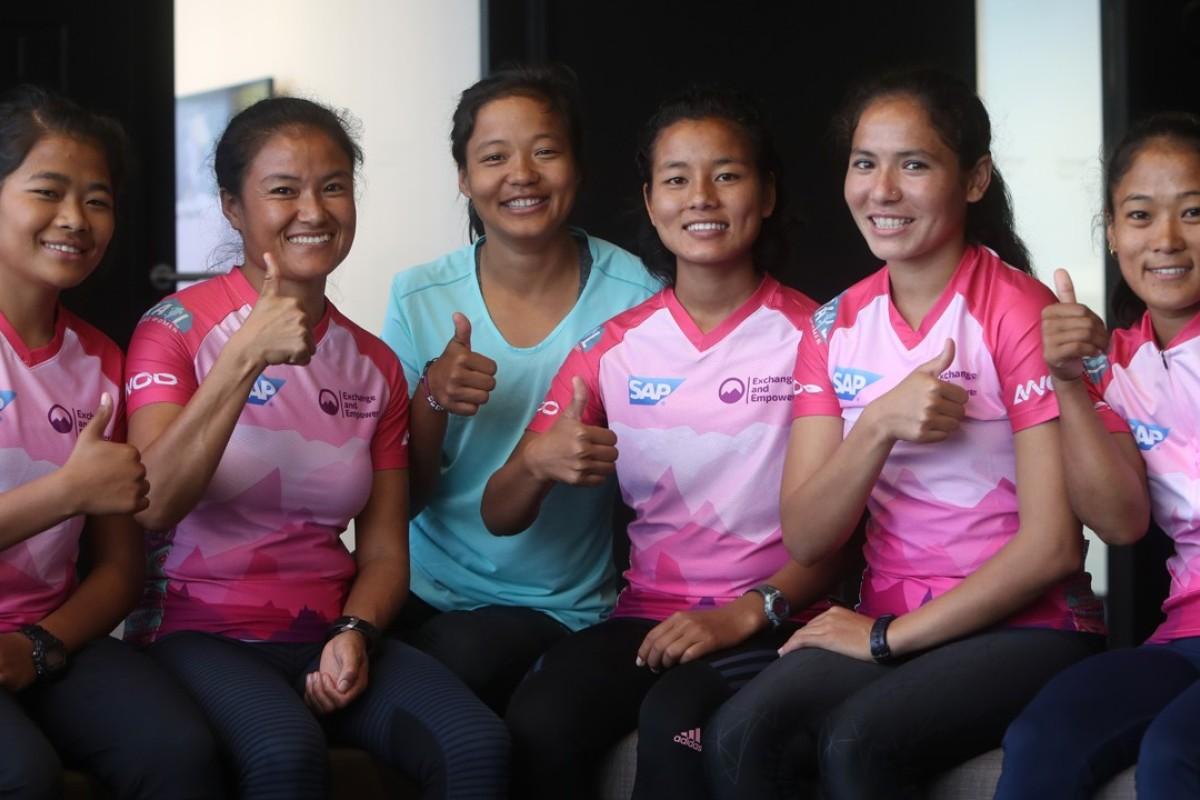 The first team of Nepalese women to run the Oxfam Trailwalker (from left): Humi Budha Magar, Chhechi Sherpa Rai, Mira Rai, Rashila Tamang, Sunmaya Budha and Chhoki Sherpa. Photo: Winson Wong