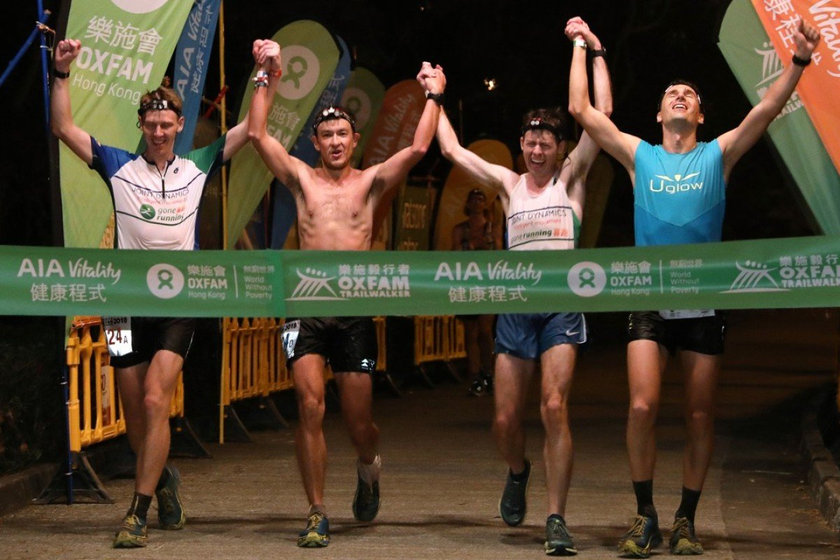 Team Gone Running-Joint Dynamics: (From left) Brian McFlynn, John Ellis, Jeff Campbell and Michael Skobierski win the Oxfam Trailwalker. Photo: Felix Wong