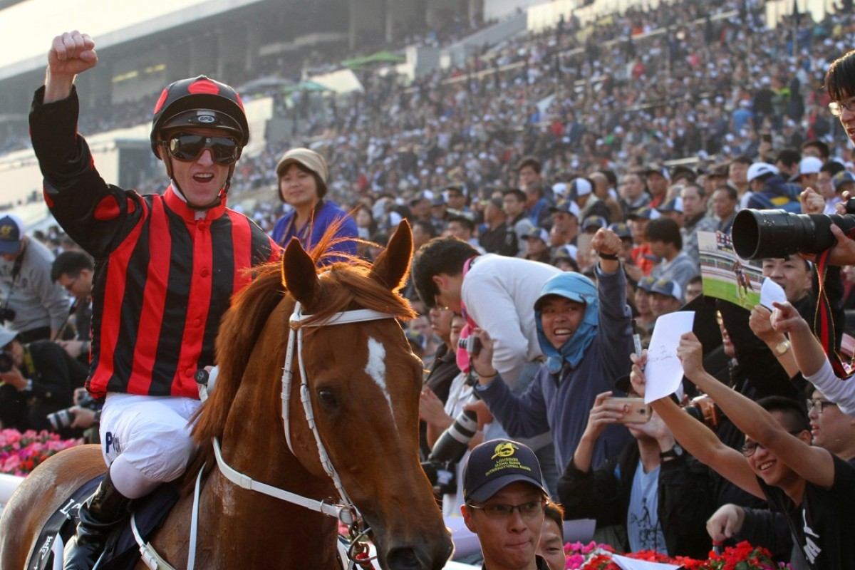 Champion jockey Zac Purton returns to the winner's circle on Time Warp after taking out last year's Group One Hong Kong Cup (2,000m). Photos: Kenneth Chan