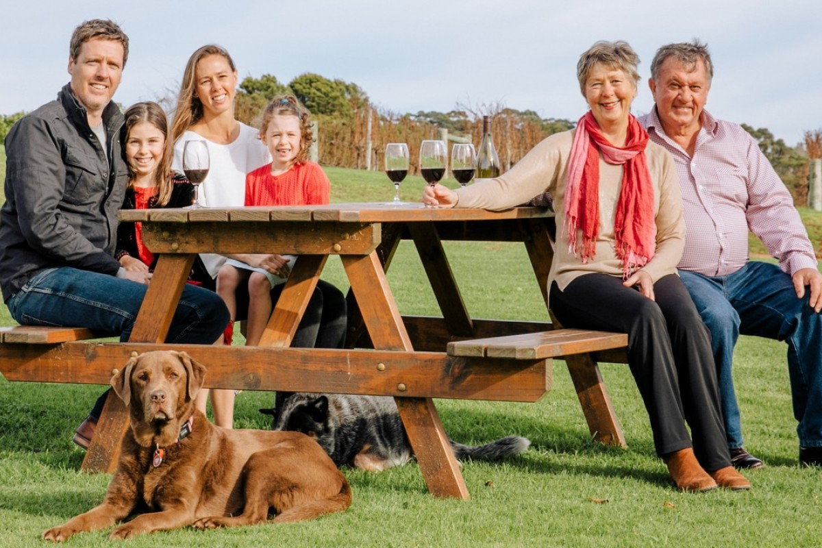 Viv Snowden (second from right) and her husband, Phil, with one of their daughters and her family, in Denmark, Western Australia. Picture: courtesy of Singlefile Wines