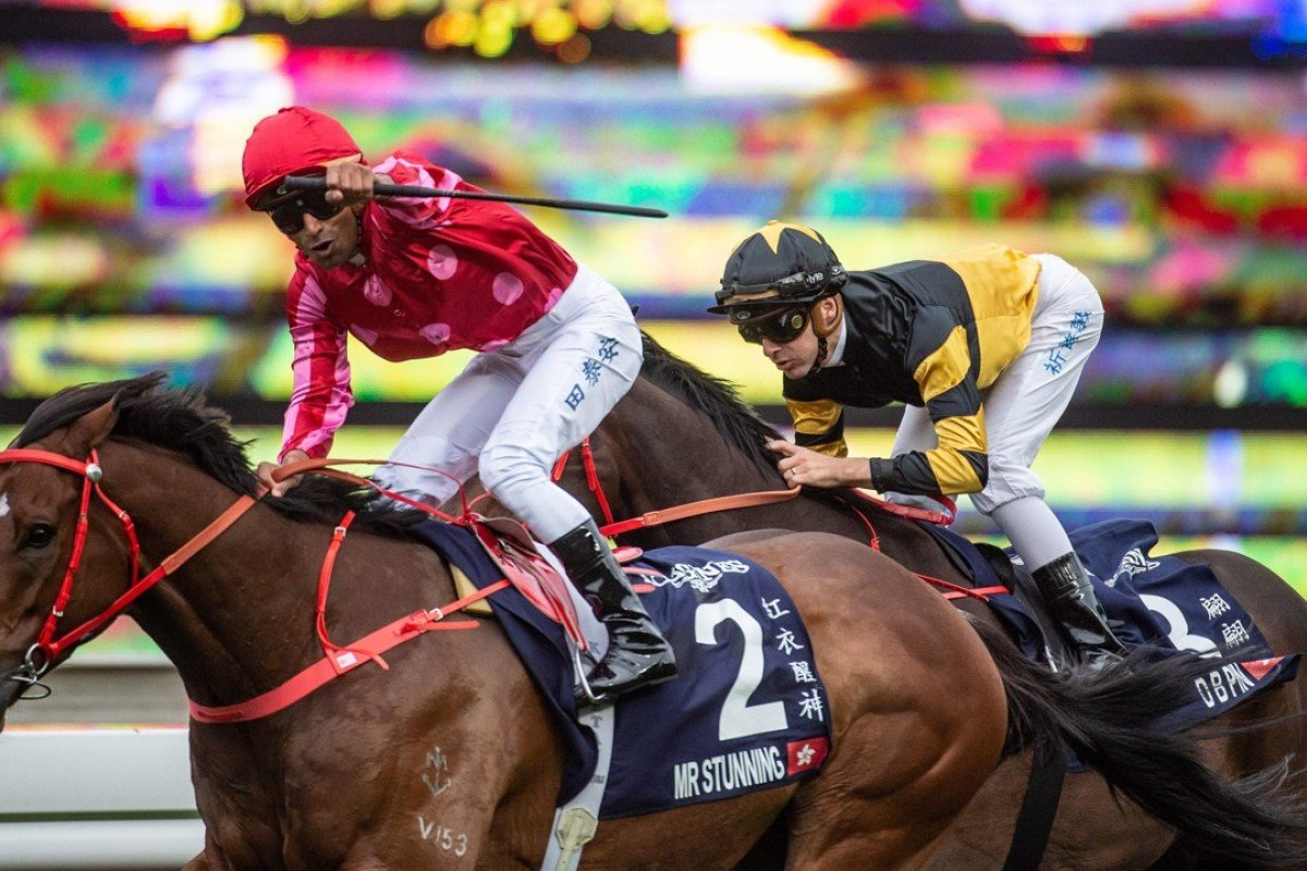 Karis Teetan wins the Longines Hong Kong Sprint on Mr Stunning. Photo: AFP