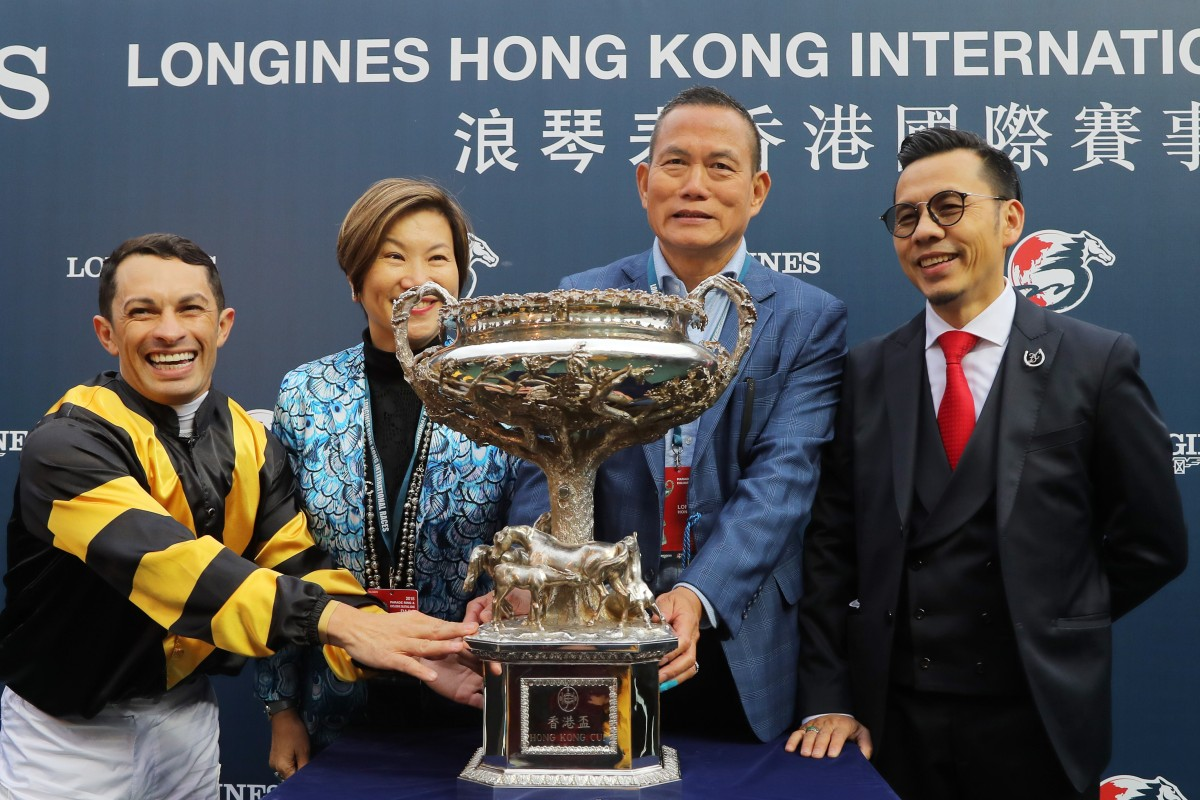 Silvestre de Sousa and Frankie Lor after winning the Hong Kong Cup earlier this month. Photos: Kenneth Chan