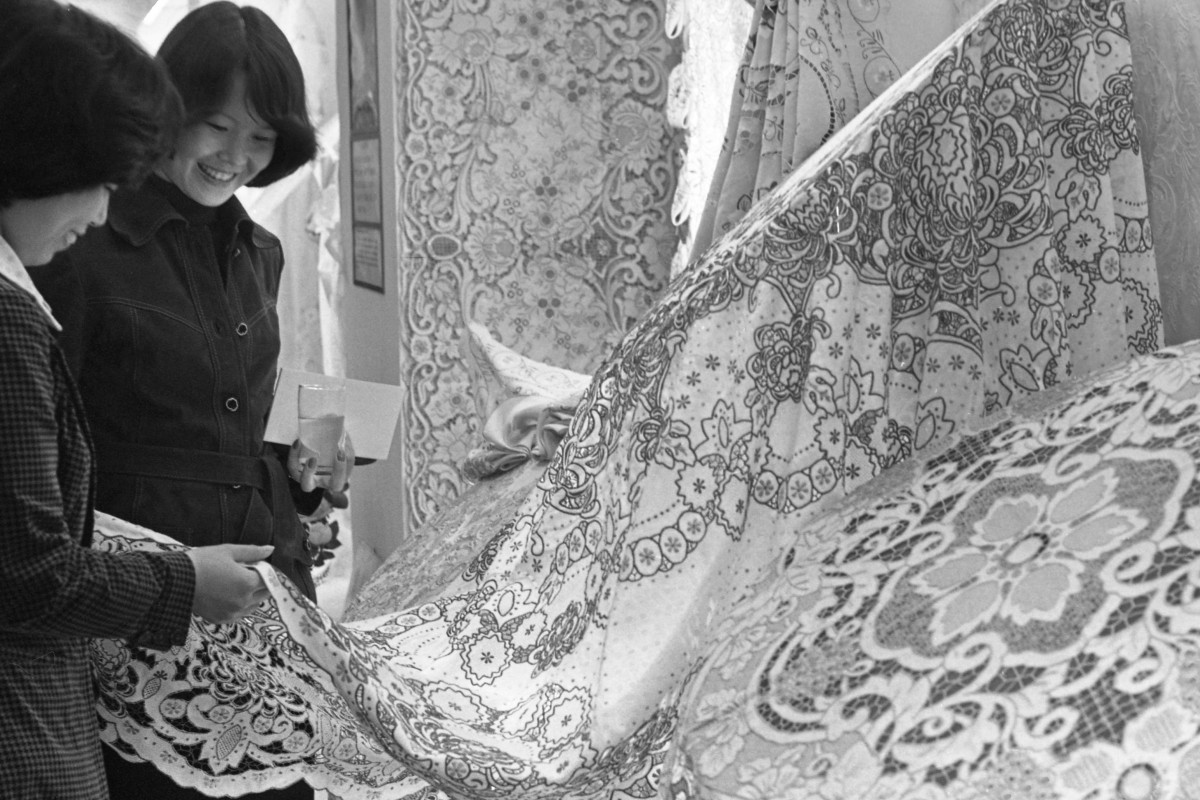 Lace tablecloths on display at the 1978 Chinese Export Commodities Exhibition in Hong Kong. Picture: SCMP