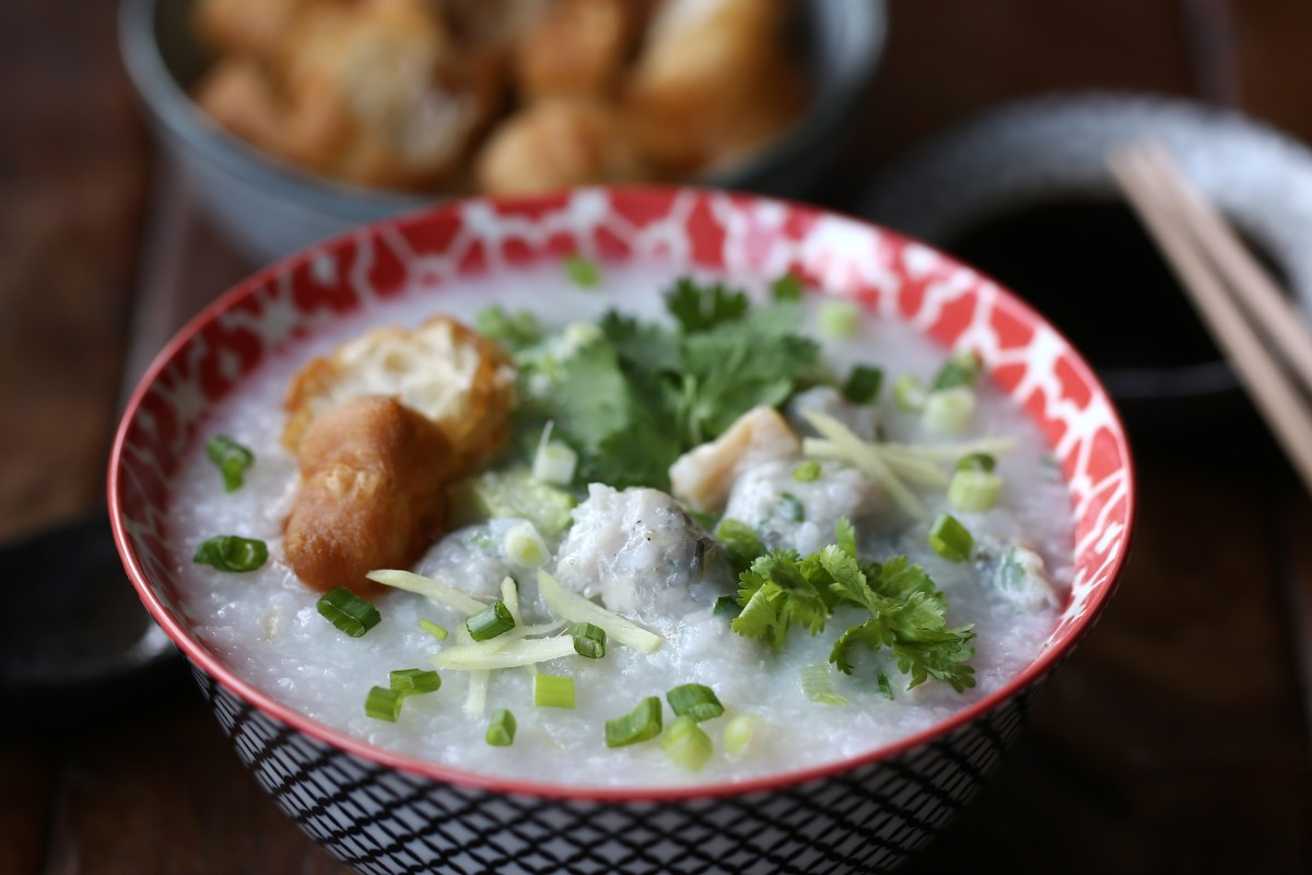 Susan Jung's dried scallop congee with fish paste. Photography: Jonathan Wong. Styling: Nellie Ming Lee