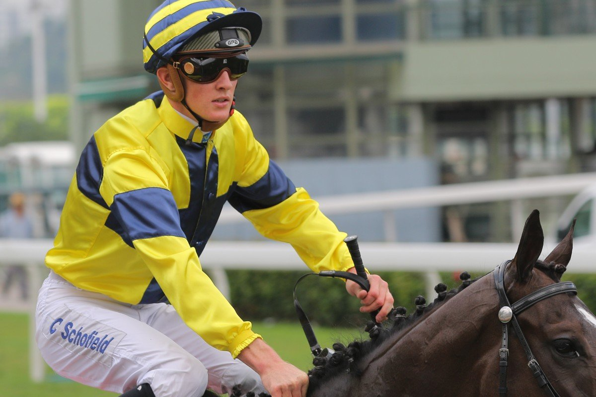 Chad Schofield after winning on Shimmer and Shine last season at Sha Tin. Photos: Kenneth Chan