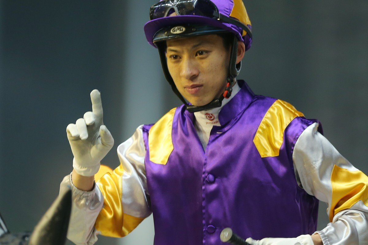 Matthew Chadwick celebrates one of his eight winners at Happy Valley this season. Photos: Kenneth Chan