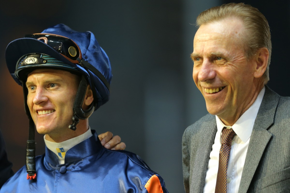 Zac Purton and John Size celebrate a winner together. Photos: Kenneth Chan