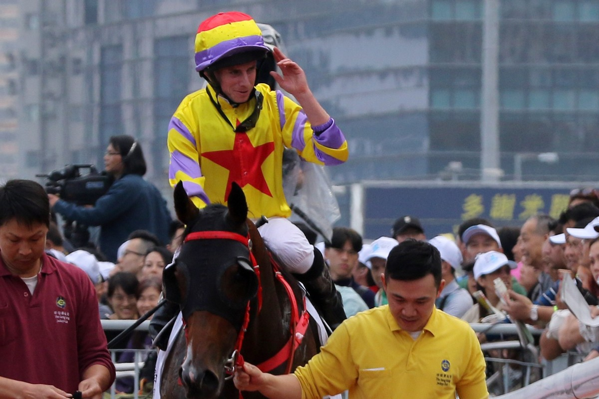 Ryan Moore returns to scale after winning last year's Hong Kong Derby on Ping Hai Star for trainer John Size. Photos: Kenneth Chan