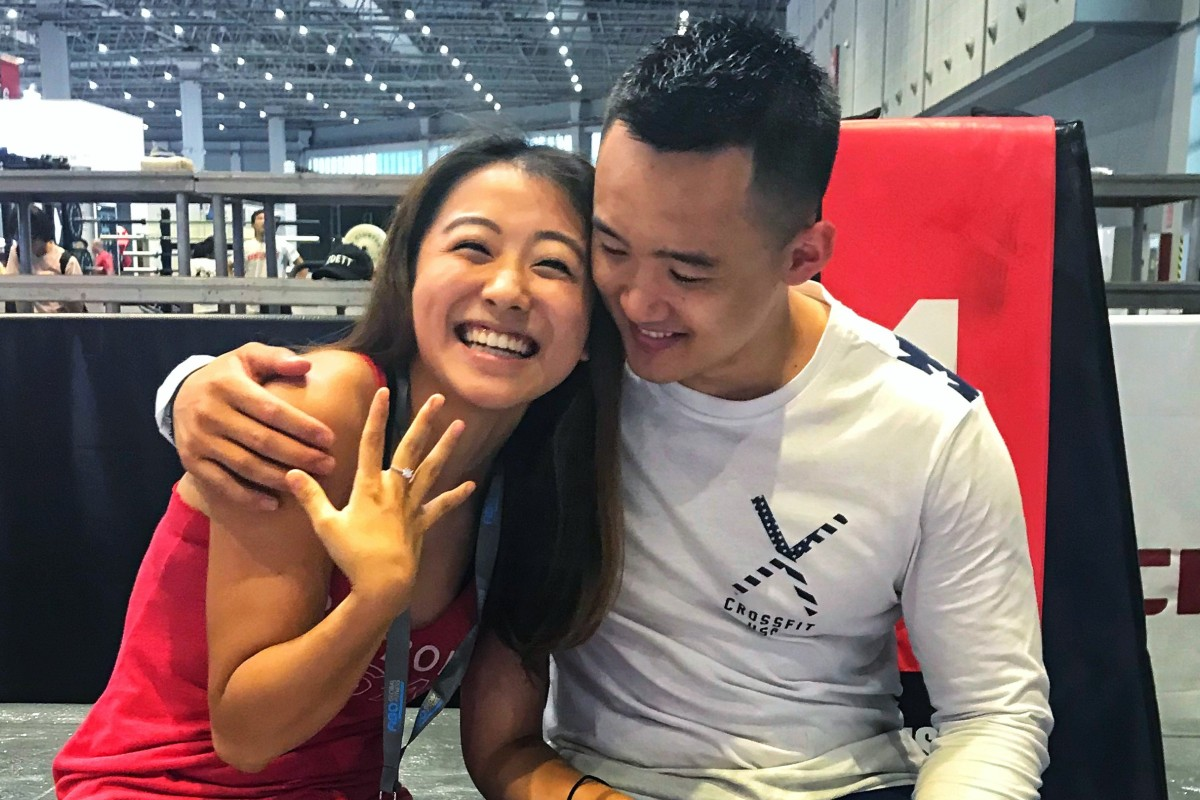 Carrie Yan and Max Ma after he proposed to her, following the first day of the China Invitational, which they have organised for three years. Ma said the cleaner had to take this photo as no one else was around. Photos: Handout