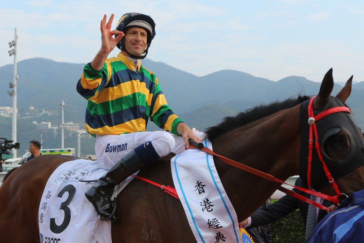 Hugh Bowman celebrates his Classic Mile win aboard Furore. Photos: Kenneth Chan