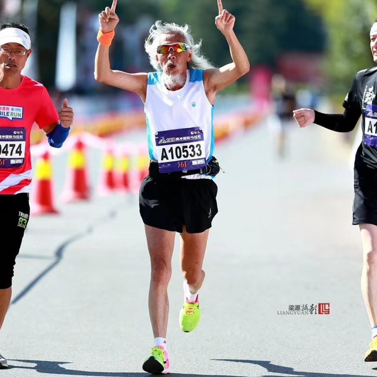 He took up running aged 70  He's run a sub-4-hour marathon